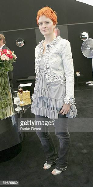 Fashion Designer Michelle Jank attends the Melbourne Cup Carnival's Derby Day in the Moet et Chandon marquee at Flemington October 30 2004 in Sydney...