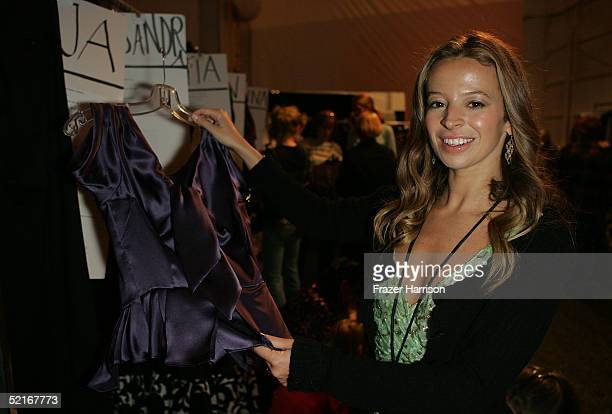 Fashion designer Michelle Smith prepares backstage at the Milly By Michelle Smith Fall 2005 show during the Olympus Fashion Week in Bryant Park...