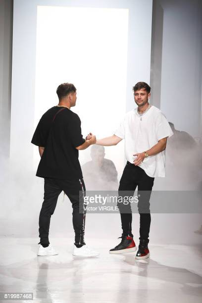 Fashion designer Mike Heaton walks the runway during the Represent show during NYFW: Men's July 2017 Spring Summer 2018 at Skylight Clarkson Sq on...