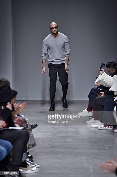 Fashion designer Milan Vukmirovic walks the runway at the Ports 1961 show during Milan Men's Fashion Week Fall/Winter 2017/18 on January 13 2017 in...