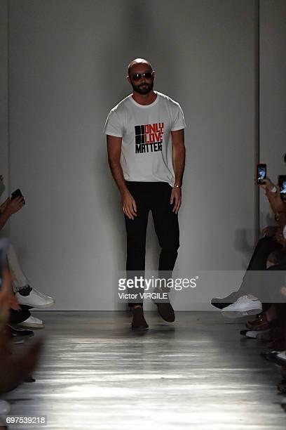 Fashion designer Milan Vukmirovic walks the runway at the Ports 1961 show during Milan Men's Fashion Week Spring/Summer 2018 on June 16 2017 in Milan...