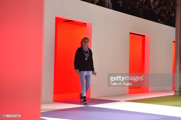 Fashion designer Miuccia Prada acknowledges the applause of the audience at the Prada fashion show on January 12, 2020 in Milan, Italy.