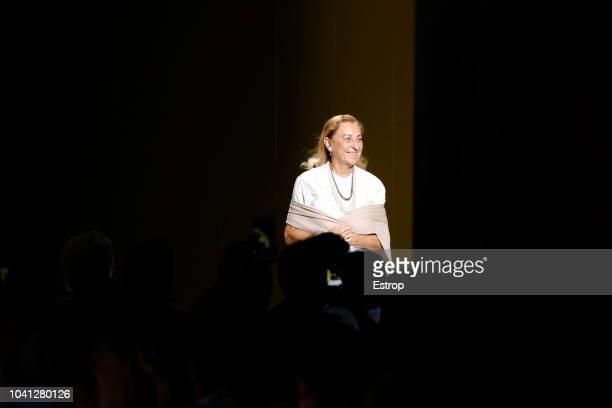 Fashion designer Miuccia Prada at the Prada show during Milan Fashion Week Spring/Summer 2019 on September 20, 2018 in Milan, Italy.