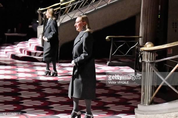 Fashion designer Miuccia Prada walks the runway at the Miu Miu Ready to Wear fashion show as part of the Paris Fashion Week Womenswear Fall/Winter...
