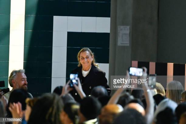 Fashion designer Miuccia Prada walks the runway at the Prada Ready to Wear Spring/Summer 2020 fashion show during the Milan Fashion Week...