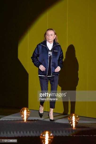 Fashion Designer Miuccia Prada walks the runway at the Prada show at Milan Fashion Week Autumn/Winter 2019/20 on February 21, 2019 in Milan, Italy.