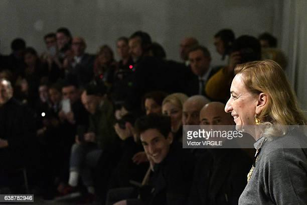 Fashion designer Miuccia Prada walks the runway at the Prada show during Milan Men's Fashion Week Fall/Winter 2017/18 on January 15, 2017 in Milan,...