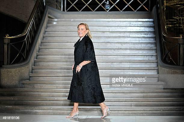 Fashion designer Miuccia Prada walks the runway during the Miu Miu Ready to Wear show as part of the Paris Fashion Week Womenswear Spring/Summer 2016...