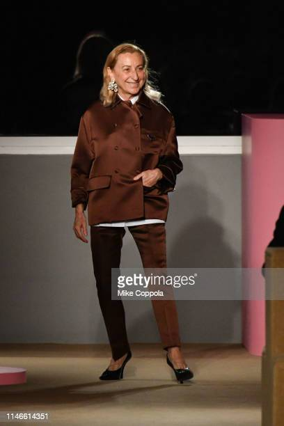 Fashion Designer Miuccia Prada walks the runway during the Prada Resort 2020 Collection on May 02, 2019 in New York City.