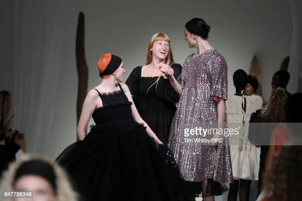 Fashion designer Molly Goddard and Erin O'Connor are seen on the runway at the Molly Goddard show during London Fashion Week September 2017 on...
