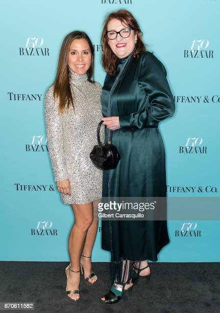 Fashion designer Monique Lhuillier and Editorinchief Harper's BAZAAR Glenda Bailey attend Harper's BAZAAR 150th Anniversary Event presented with...