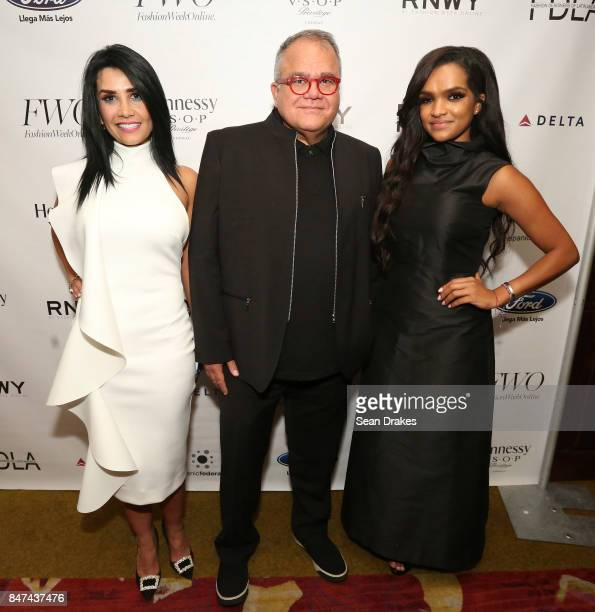 Fashion designer Morena Valley Español People Magazine editor in chief Armando Correa and Uptown Fashion Week founder Albania Rosario pose during the...