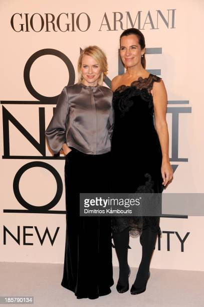 Fashion designer Naomi Watts wearing Armani and Roberta Armani attend Giorgio Armani One Night Only NYC at SuperPier on October 24 2013 in New York...