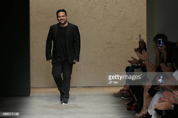Fashion Designer Narciso Rodriguez walks the runway at the Narciso Rodriguez Spring 2016 fashion show during New York Fashion Week at SIR Stage 37 on...