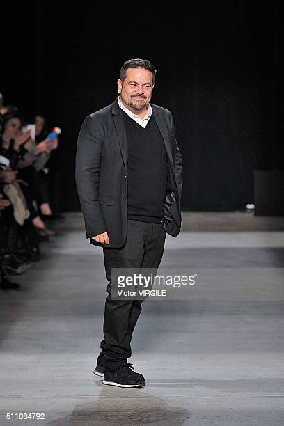 Fashion designer Narciso Rodriguez walks the runway at the Narciso Rodriguez Fall/Winter 2016 during New York Fashion Week on February 16 2016 in New...