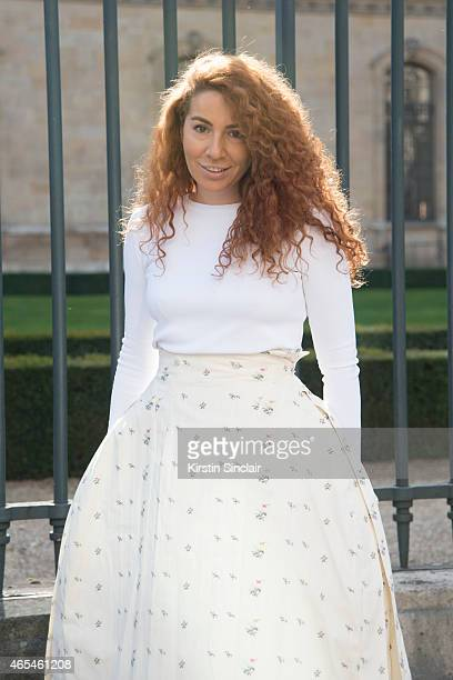 Fashion designer Natasha Zinko wears a Dior skirt and top on day 4 of Paris Collections Women on March 06 2015 in Paris France