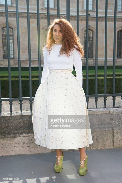Fashion designer Natasha Zinko wears a Dior skirt and top with Vivienne Westwood shoes on day 4 of Paris Collections Women on March 06 2015 in Paris...