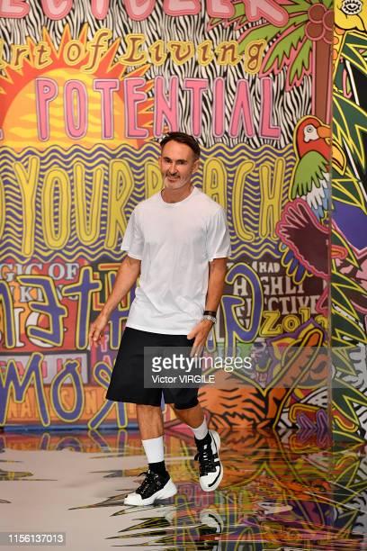 Fashion designer Neil Barrett walks the runway at the Neil Barrett fashion show during the Milan Men's Fashion Week Spring/Summer 2020 on June 15...