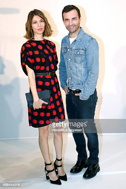 Fashion Designer Nicolas Ghesquiere and director Sofia Coppola pose backstage after the Louis Vuitton show as part of the Paris Fashion Week...
