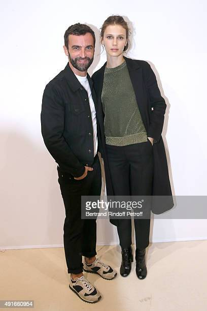 Fashion Designer Nicolas Ghesquiere and Marine Vacth pose Backstage after the Louis Vuitton show as part of the Paris Fashion Week Womenswear...
