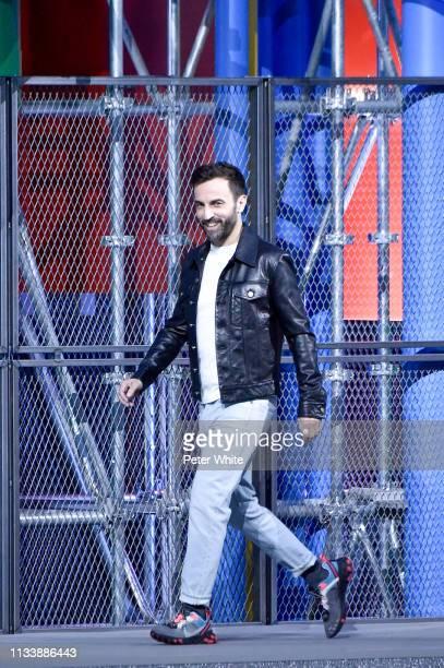 Fashion designer Nicolas Ghesquiere walks the runway at the end of Louis Vuitton show as part of the Paris Fashion Week Womenswear Fall/Winter...