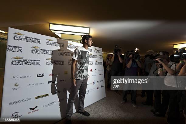 "Fashion designer Noah Becker, son of former German tennis player Boris Becker, poses for photographers prior to the ""Underground Catwalk"" show, wher..."
