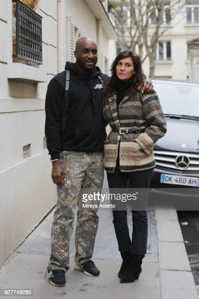 Fashion designer of OFFWHITE Virgil Abloh and editorinchief of Vogue Paris Emmanuelle Alt seen during Paris Fashion Week Womenswear Fall/Winter...