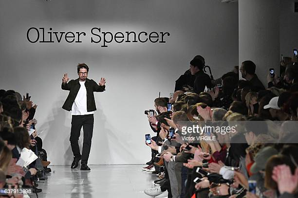 Fashion designer Oliver Spencer walks the runway at the Oliver Spencer Autumn Winter 20172018 fashion show during London Menswear Fashion Week on...
