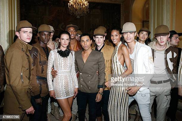 Fashion Designer Olivier Rousteing and his Models pose Backstage after the Balmain Menswear Spring/Summer 2016 show as part of Paris Fashion Week on...