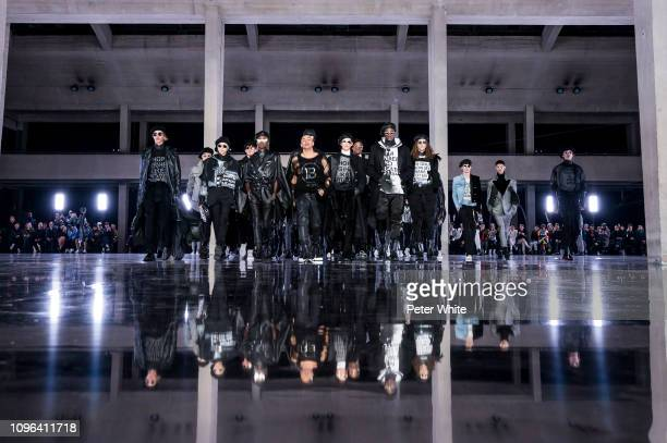 Fashion designer Olivier Rousteing and models walk the runway during the Balmain Homme Menswear Fall/Winter 20192020 show as part of Paris Fashion...