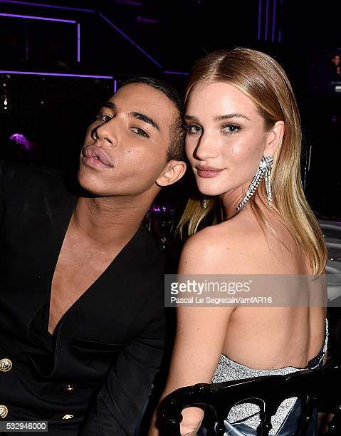 Fashion designer Olivier Rousteing and Rosie HuntingtonWhiteley attends the amfAR's 23rd Cinema Against AIDS Gala at Hotel du CapEdenRoc on May 19...