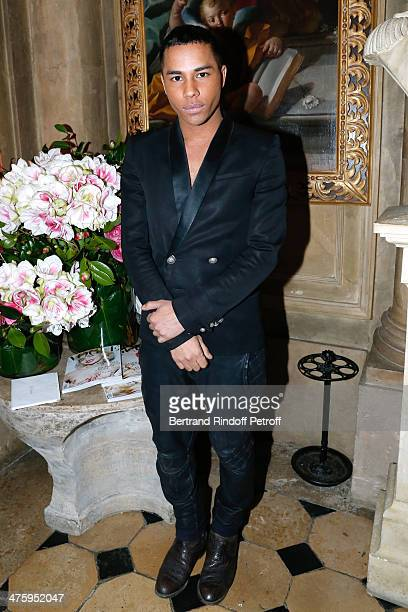 Fashion Designer Olivier Rousteing attending the Cocktail Dinatoire of German VOGUE in honor of Mario Testino at Restaurant 1728 on March 1 2014 in...