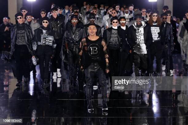Fashion designer Olivier Rousteing during the Balmain Homme Menswear Fall/Winter 20192020 show as part of Paris Fashion Week on January 18 2019 in...