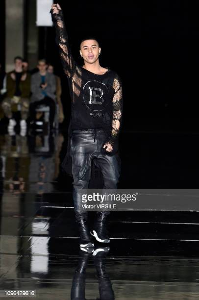 Fashion designer Olivier Rousteing walks the runway during the Balmain Homme Menswear Fall/Winter 20192020 fashion show as part of Paris Fashion Week...