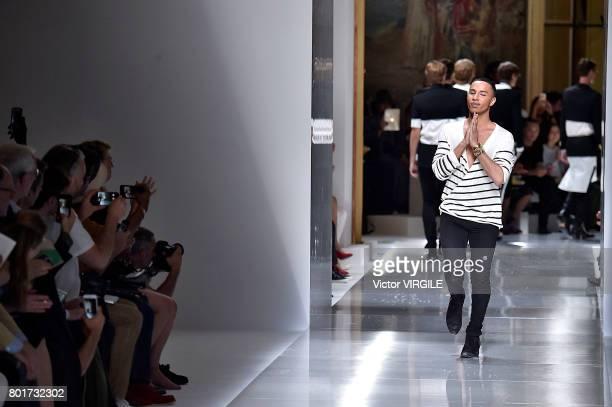 Fashion designer Olivier Rousteing walks the runway during the Balmain Menswear Spring/Summer 2018 show as part of Paris Fashion Week on June 24 2017...