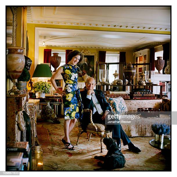 Fashion designer Oscar de la Renta and stepdaughter Eliza Bolen are photographed at home for Vanity Fair Spain on May 7 2009 in New York City