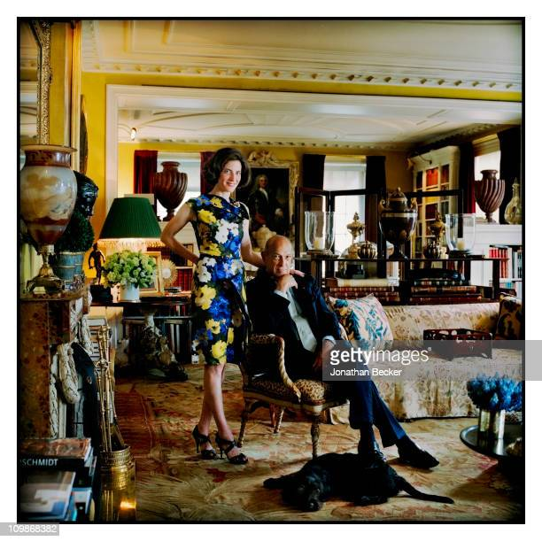 Fashion designer Oscar de la Renta and stepdaughter Eliza Bolen are photographed at home for Vanity Fair Spain on May 7 2009 in New York City...