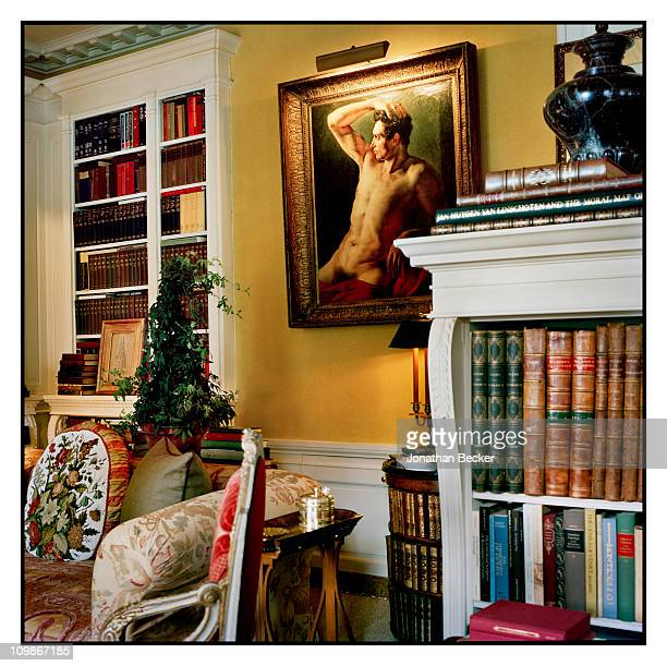 Fashion designer Oscar de la Renta's library is photographed for Vanity Fair Spain on May 7 2009 in New York City Published image