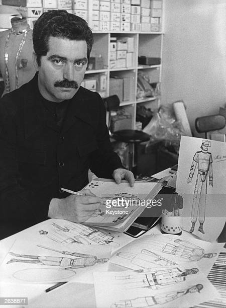 Fashion designer Paco Rabanne at work in his studio in Paris Along with several other designers he is designing uniforms for the French army his...