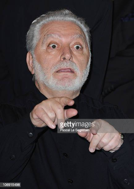 Fashion designer Paco Rabanne gestures after he received the Legion of Honor at Ministere de la Culture on November 16 2010 in Paris France