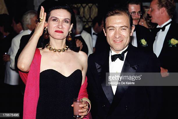 Fashion designer Paloma Picasso and her husband Rafael Lopez-Sanchez attend a 'Save Venice Appeal' ball on August 31, 1989 in Venice, Italy.