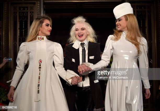 Fashion designer Pam Hogg with models Alice Dellal and Fearne Cotton on the runway after her show during the London Fashion Week February 2017...