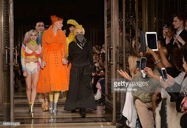 Fashion designer Pam Hogg with models walk the runway after her show at Fashion Scout during London Fashion Week Spring/Summer 2016/17 on September...