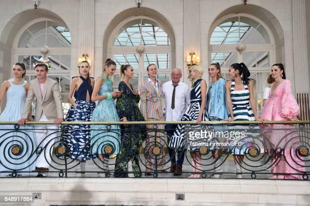 Fashion designer Paul Costelloe and models showcase designs at the Paul Costelloe presentation during London Fashion Week September 2017 on September...