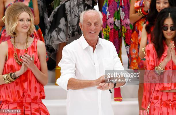 Fashion designer Paul Costelloe at the finale of his Presentation during London Fashion Week September 2019 at The Waldorf London on September 16...