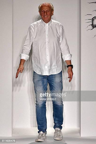 Fashion designer Paul Costelloe walks the catwalk at the Paul Costelloe presentation during London Fashion Week Autumn/Winter 2016/2017 on February...