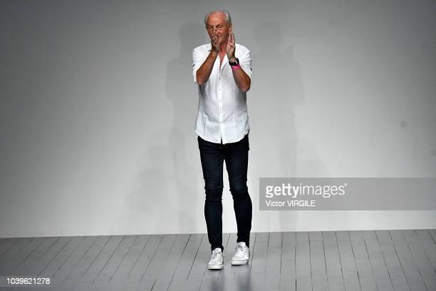 Fashion designer Paul Costelloe walks the runway at the Paul Costelloe Ready to Wear Spring/Summer 2019 fashion show during London Fashion Week...