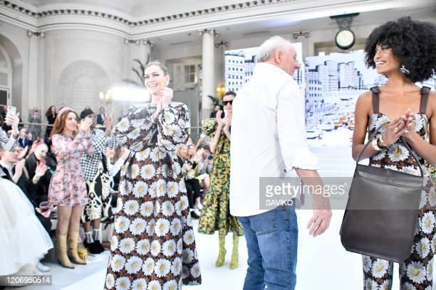 Fashion designer Paul Costelloe walks the runway at the Paul Costelloe Ready to Wear Fall/Winter 20202021 fashion show during London Fashion Week on...