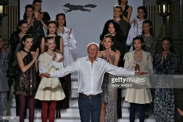 Fashion designer Paul Costelloe walks the runway at the Paul Costelloe Ready to Wear Fall Winter 20172018 fashion show during the London Fashion Week...