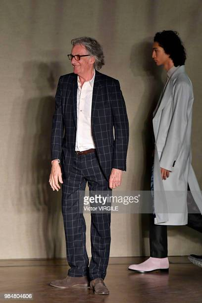 Fashion designer Paul Smith walks the runway during the Paul Smith Menswear Spring/Summer 2019 fashion show as part of Paris Fashion Week on June 24...